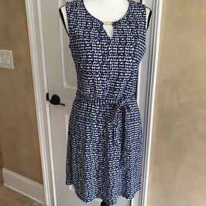 NWOT Ann Taylor Belted Blue & White Dress